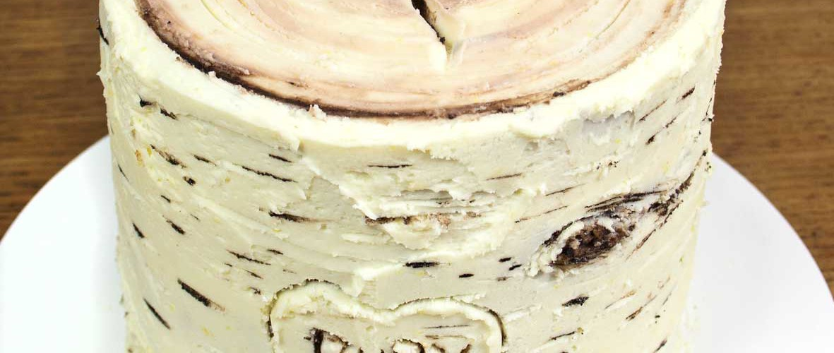 Tutorial - Woodland, birch bark buttercream, frosting cake.